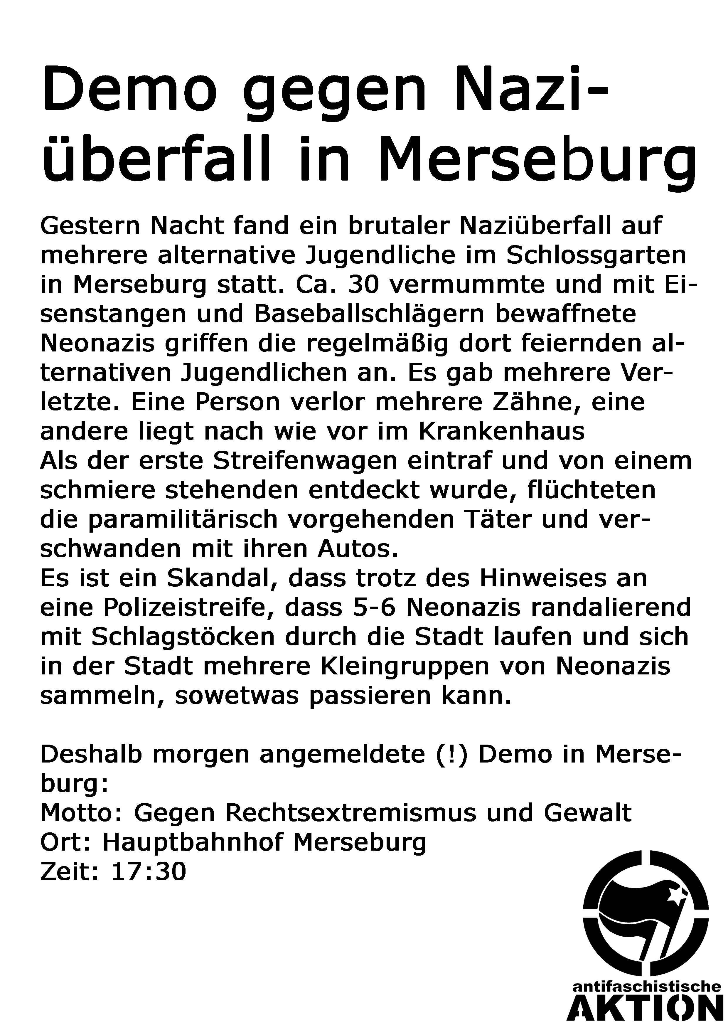 Nazi�¼berfall Merseburg Demo